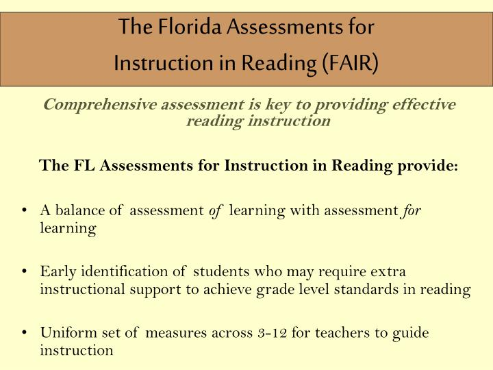 The Florida Assessments for