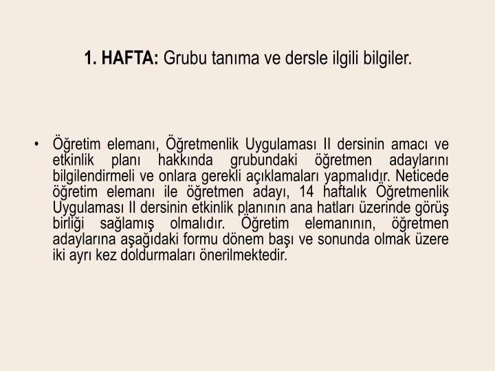 1. HAFTA: