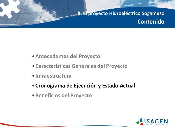 III. El proyecto Hidroeléctrico Sogamoso