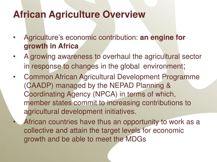 African Agriculture Overview