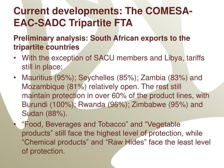 Current developments: The COMESA-EAC-SADC Tripartite FTA