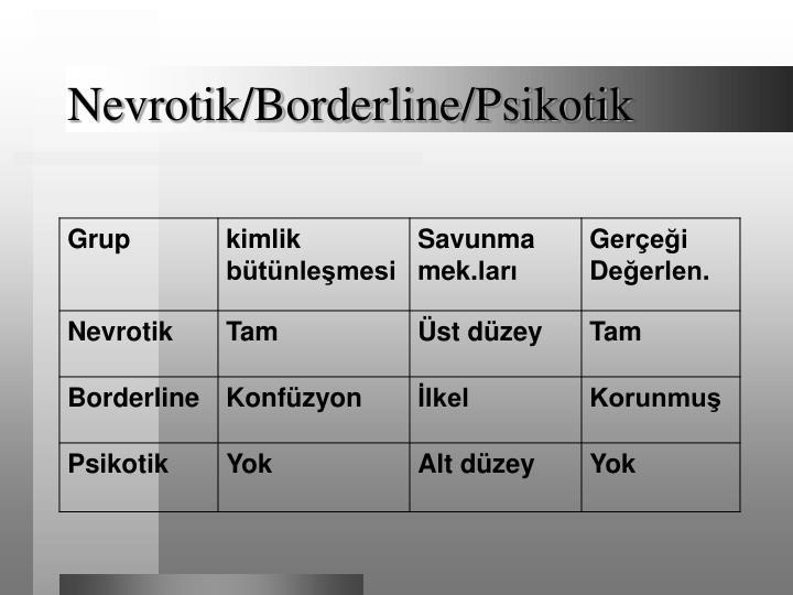 Nevrotik/Borderline/Psikotik