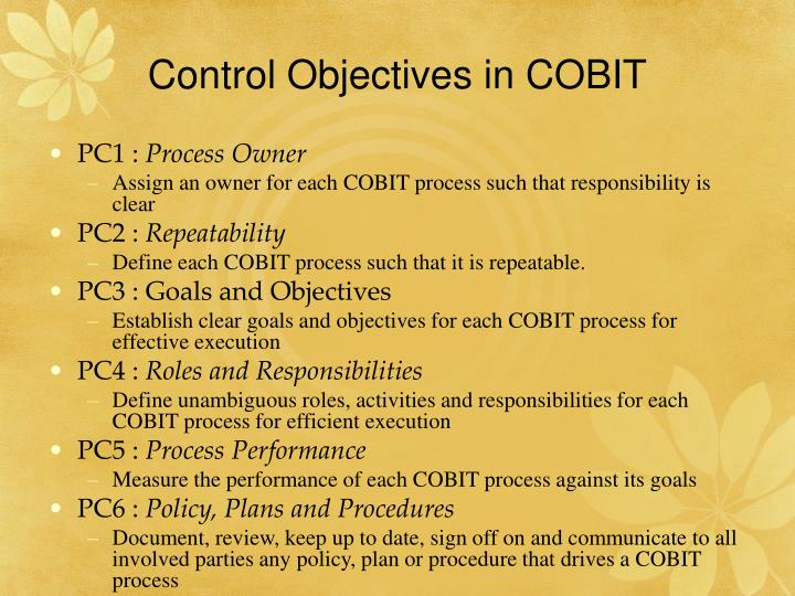 Control Objectives in COBIT