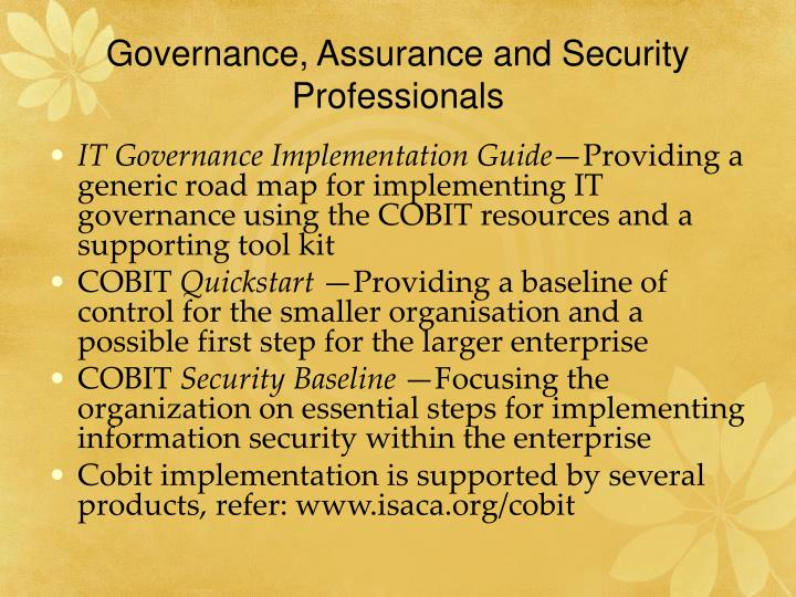 Governance, Assurance and Security Professionals