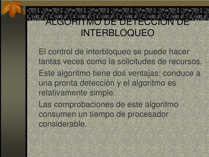 ALGORITMO DE DETECCION DE INTERBLOQUEO