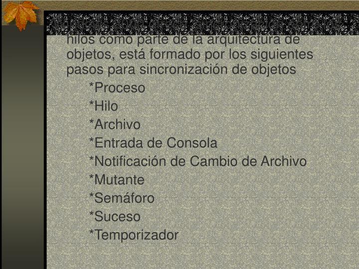 Windows 2000 ofrece  sincronización entre los hilos como parte de la arquitectura de objetos, está formado por los siguientes pasos para sincronización de objetos
