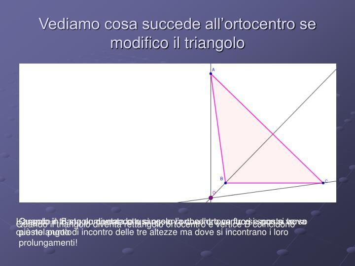 Vediamo cosa succede all'ortocentro se modifico il triangolo