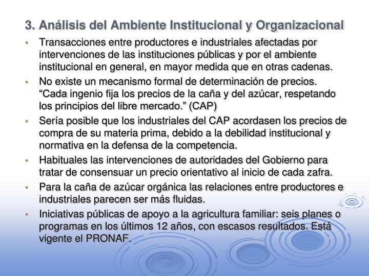 3. Análisis del Ambiente Institucional y Organizacional