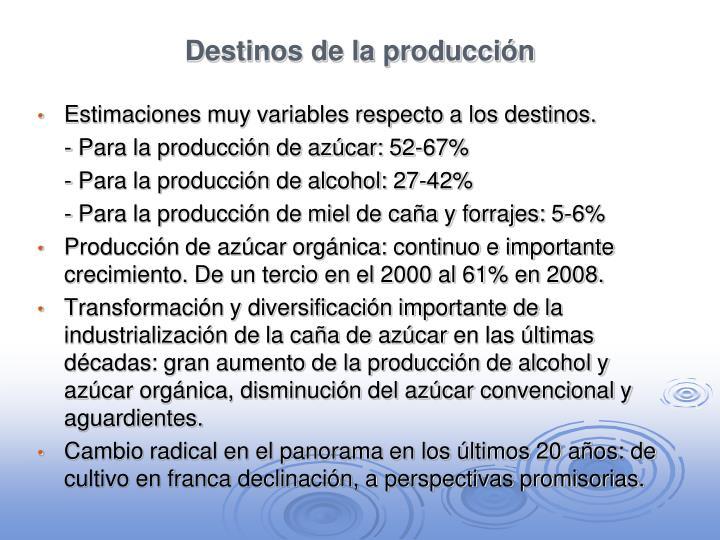 Destinos de la producción