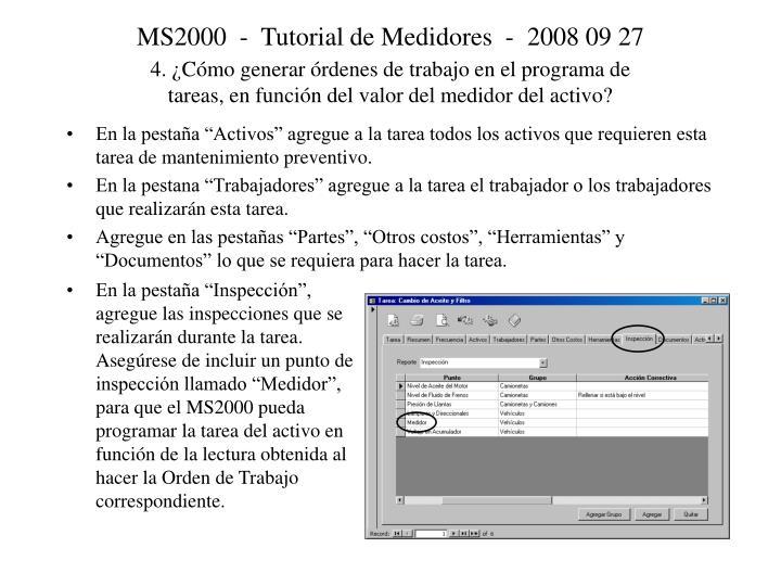 MS2000  -  Tutorial de Medidores  -  2008 09 27