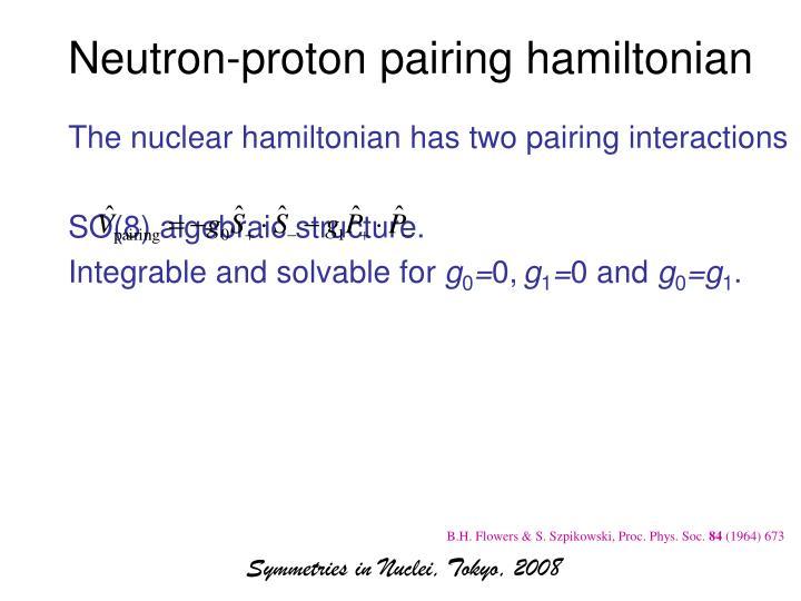 Neutron-proton pairing hamiltonian