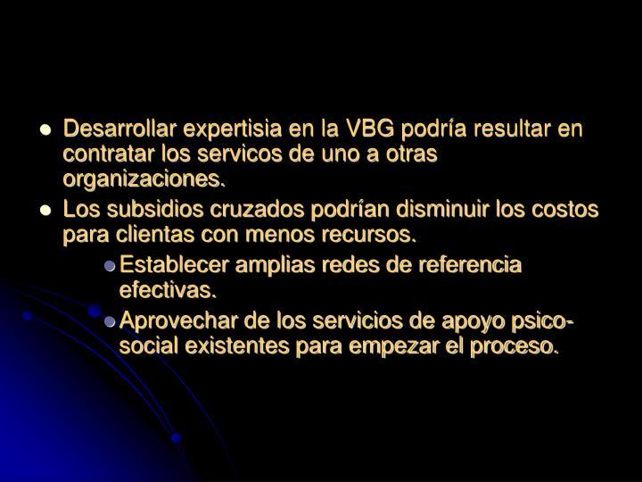 Desarrollar expertisia en la VBG podría resultar en contratar los servicos de uno a otras organizaciones.