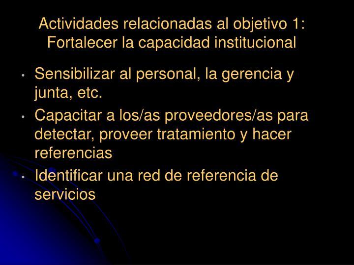Actividades relacionadas al objetivo 1: Fortalecer la capacidad institucional