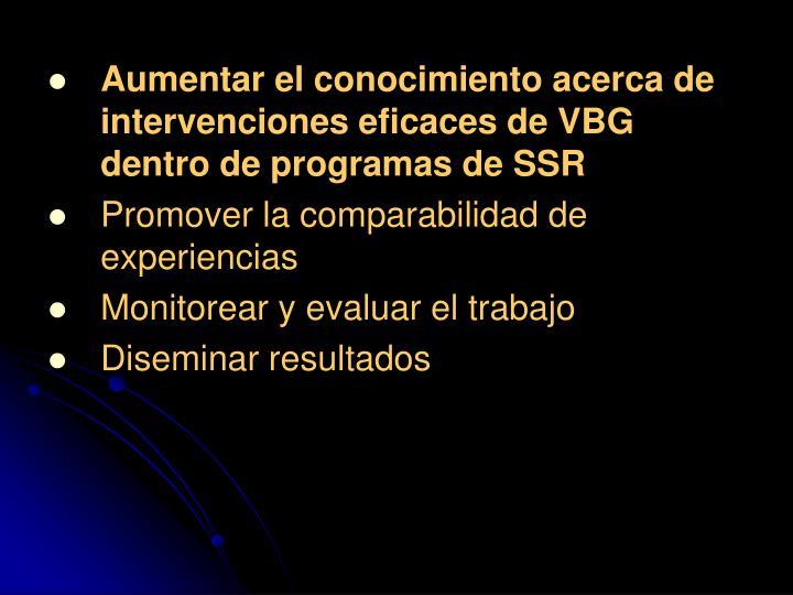 Aumentar el conocimiento acerca de intervenciones eficaces de VBG dentro de programas de SSR