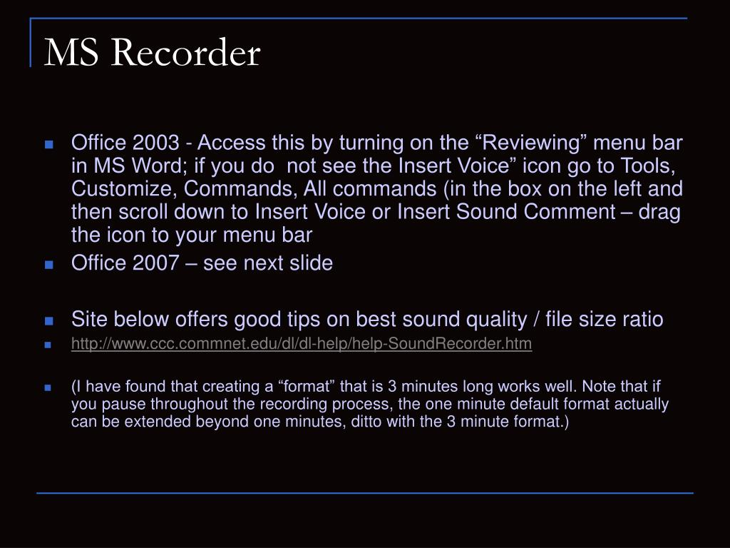 MS Recorder