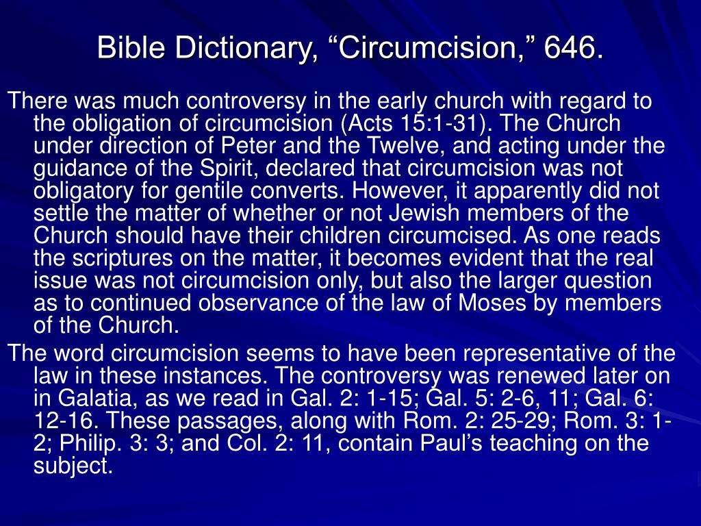 "Bible Dictionary, ""Circumcision,"" 646."