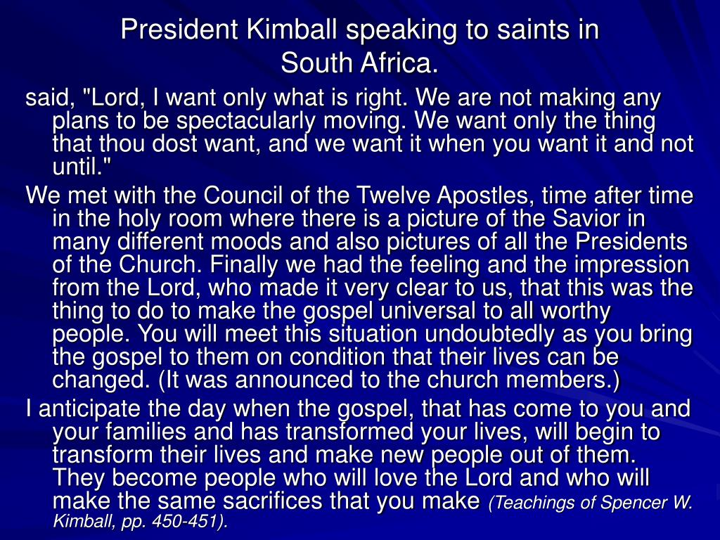 President Kimball speaking to saints in