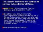 the apostles determine that gentiles do not need to keep the law of moses