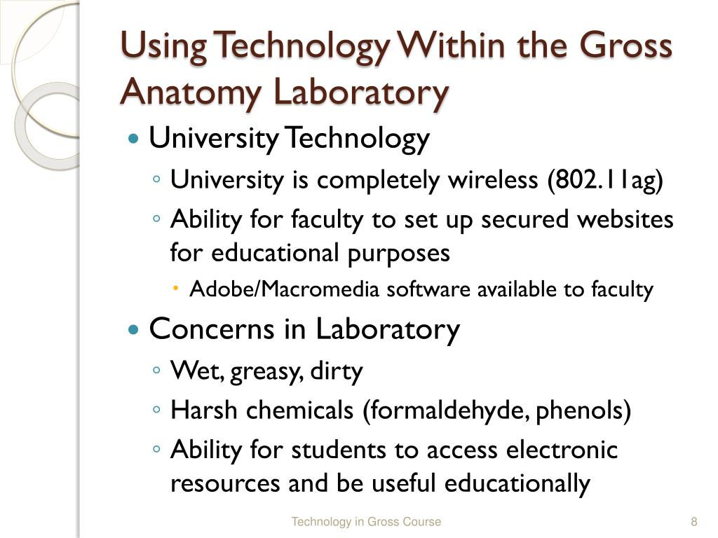 Using Technology Within the Gross Anatomy Laboratory