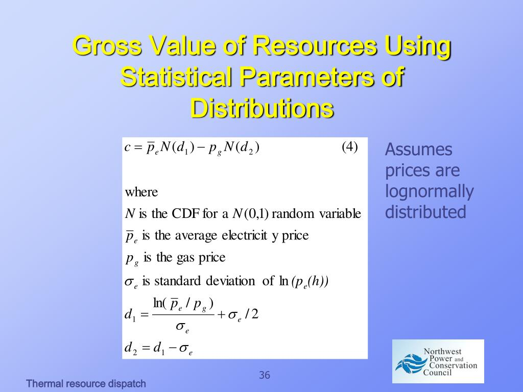 Gross Value of Resources Using Statistical Parameters of Distributions