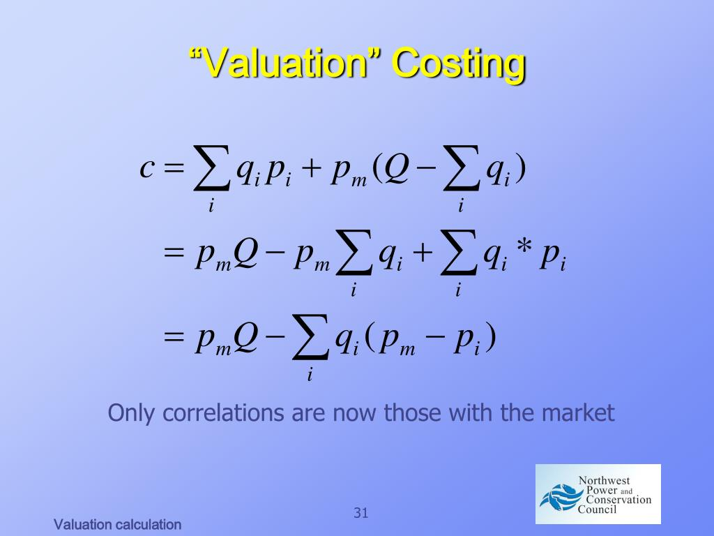 """Valuation"" Costing"