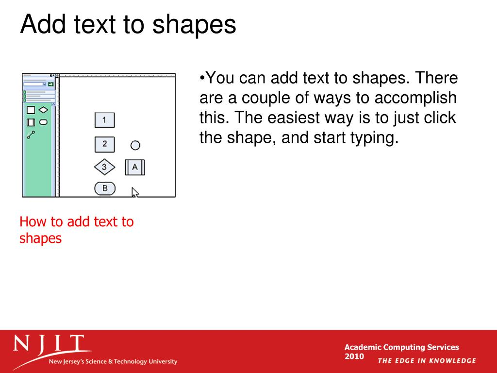 Add text to shapes