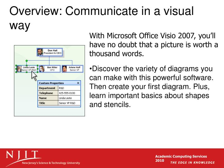 Overview communicate in a visual way