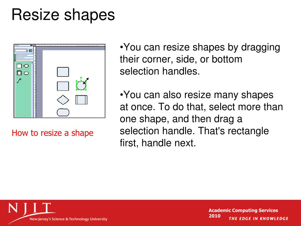Resize shapes