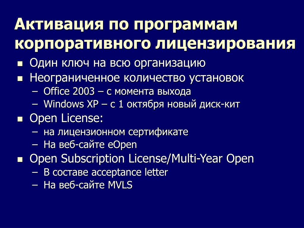 Активация по программам корпоративного лицензирования