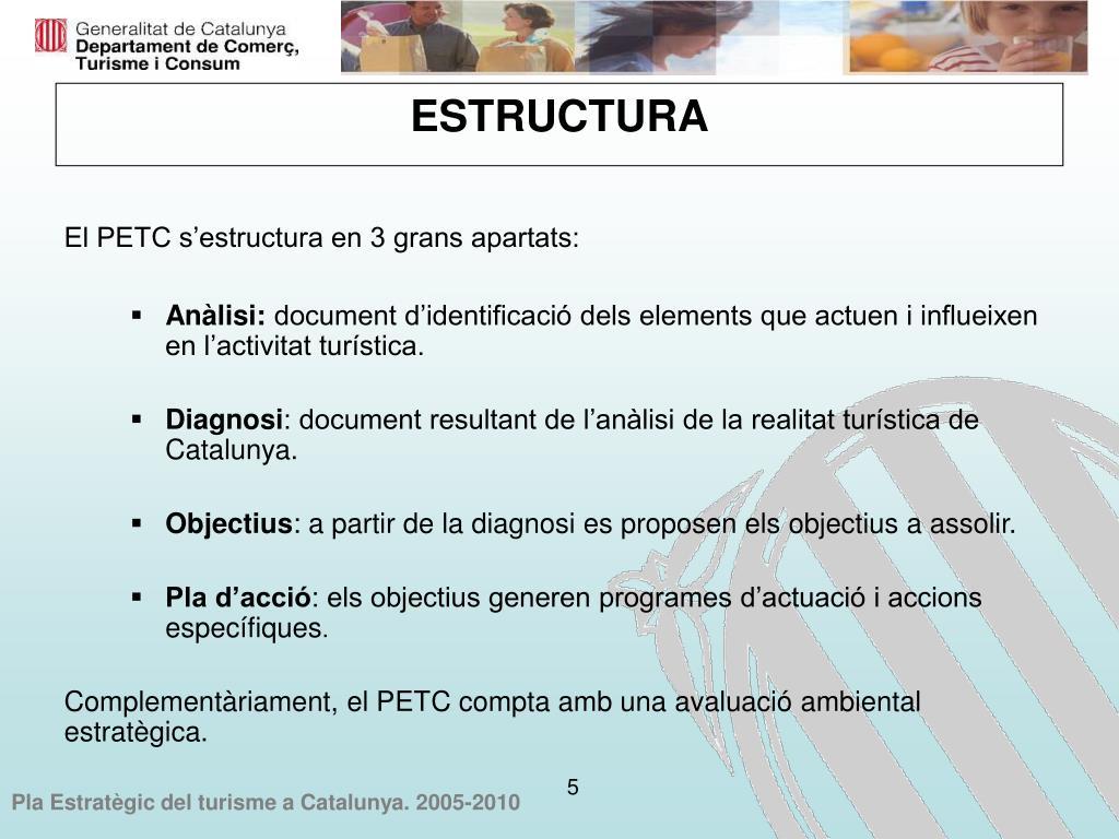 El PETC s'estructura en 3 grans apartats: