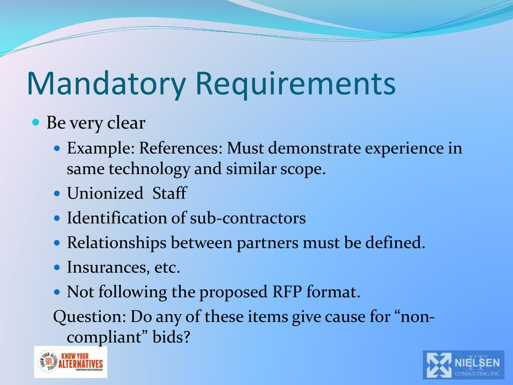 Mandatory Requirements