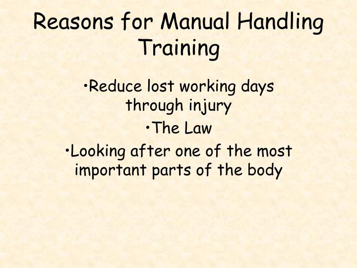 Reasons for Manual Handling Training