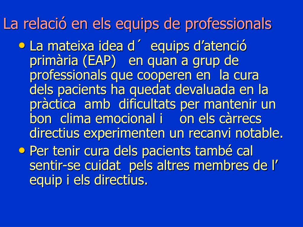 La relació en els equips de professionals
