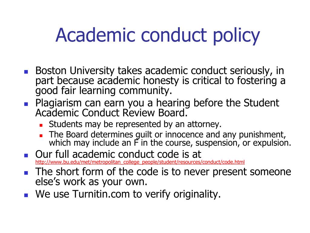 Academic conduct policy