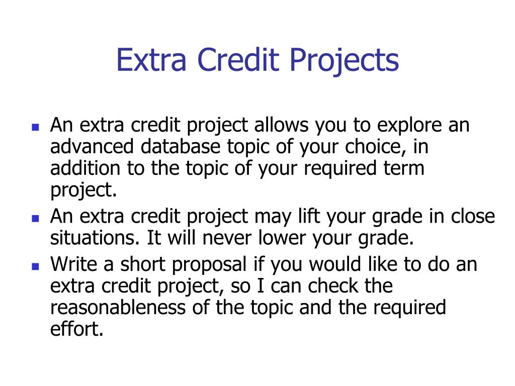 Extra Credit Projects