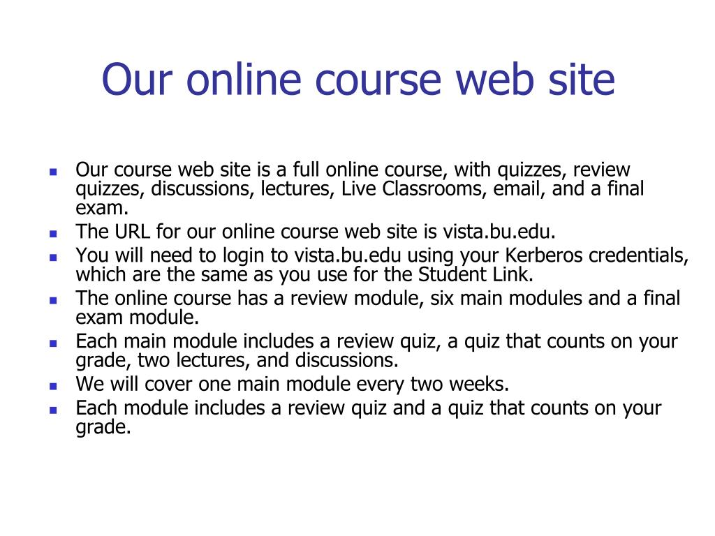 Our online course web site