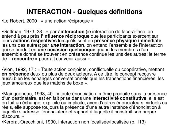 Interaction quelques d finitions