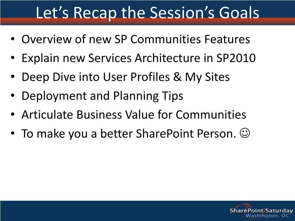 Let's Recap the Session's Goals