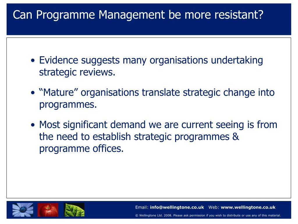 Can Programme Management be more resistant?