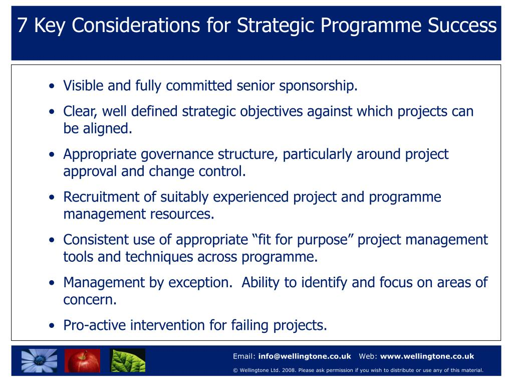 7 Key Considerations for Strategic Programme Success