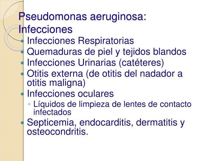 Pseudomonas aeruginosa: Infecciones