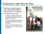 creating the right security plan