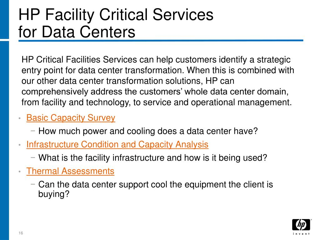 HP Facility Critical Services