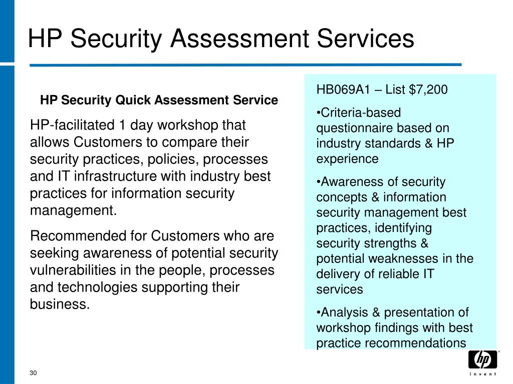 HP Security Assessment Services
