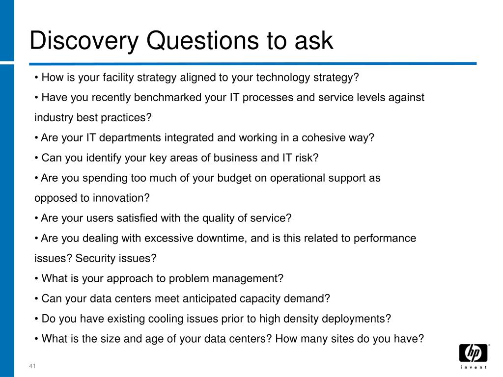 Discovery Questions to ask