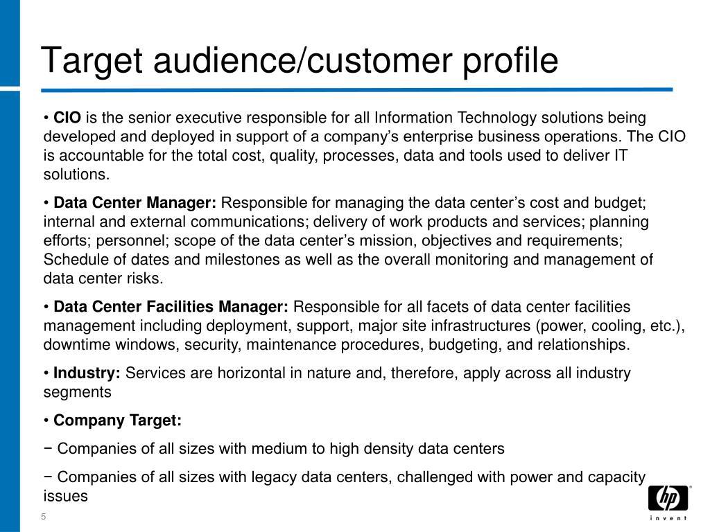 Target audience/customer profile