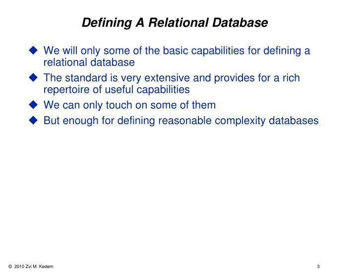 Defining a relational database