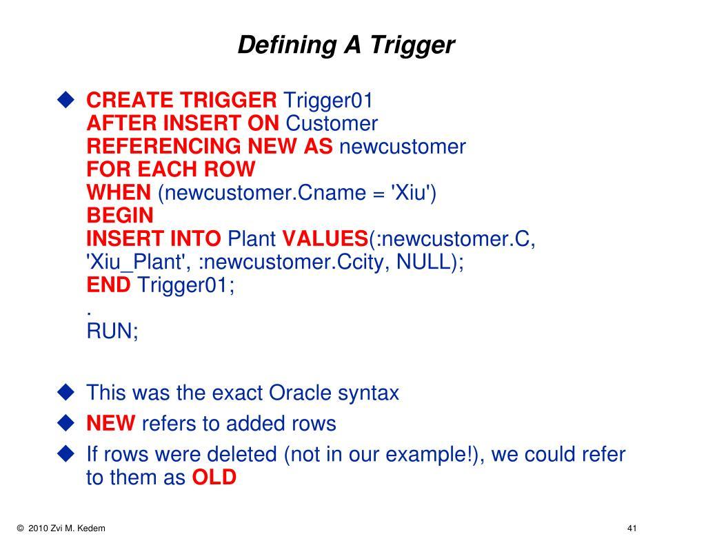 Defining A Trigger