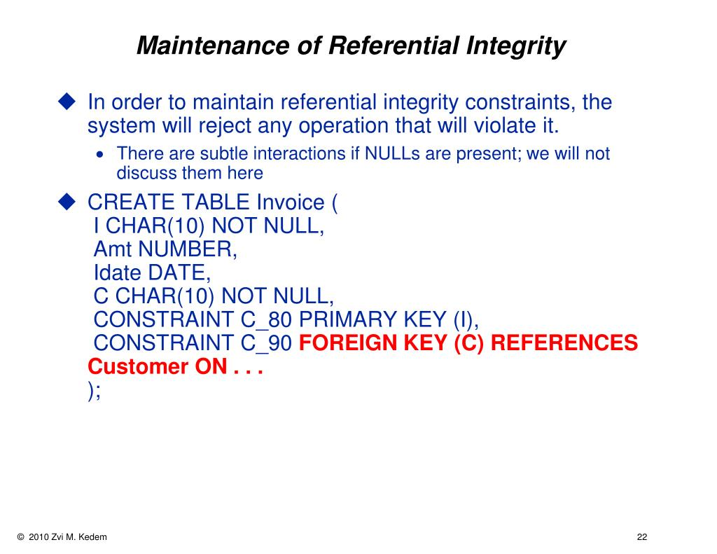 Maintenance of Referential Integrity