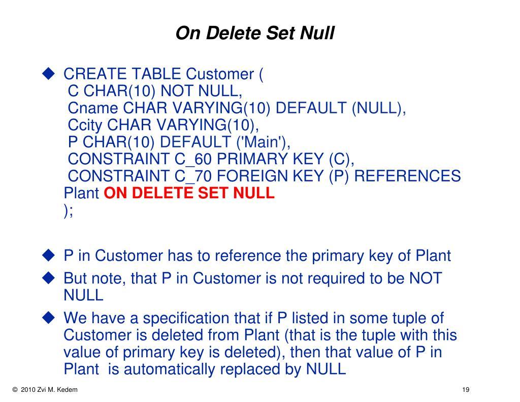 On Delete Set Null